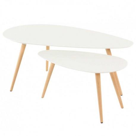 Tables Basses Gigognes Chêne et Laqué Blanc 116 KosyForm