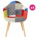 Lot de 4 Fauteuils Design Multicolore Patchwork KosyForm