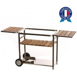 Cart Plancha gas Trio 3 wood and stainless steel lights