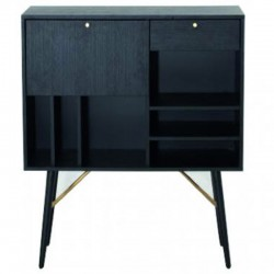 Secretary veneer oak black with black metal legs Roma KosyForm