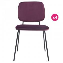 Set of 4 chairs in Velvet purple Lide KosyForm meals