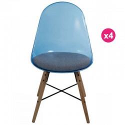 Set of 4 chairs transparent blue Polycarbonate and plexiglass KosyForm cushion