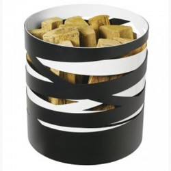 Storage in wood Ribbon frosted black and white Dixneuf Design