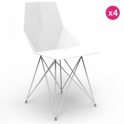 一套4把椅子 Faz Vondom 脚不锈钢白色没有扶手