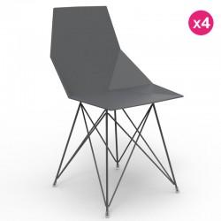 一套4把椅子 Faz 冯多姆不锈钢腿黑色, 没有扶手