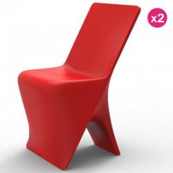 Conjunto de 2 cadeiras Vondom design Sloo vermelho