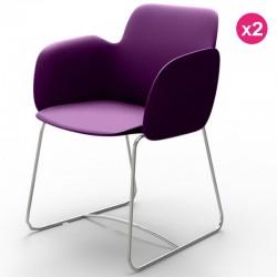 Set of 2 chairs Vondom Pezzettina violet Matt and metal