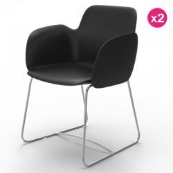 Pack von 2 Stühlen Vondom Pezzettina schwarz Matt und Metall
