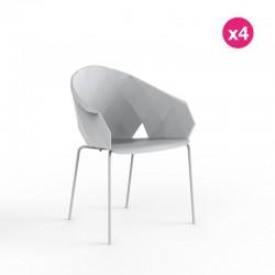 Set of 4 chairs Vondom vases white