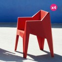 Lot de 4 chaises Voxel Vondom Rouge