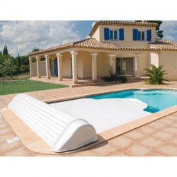 Automatic blade pool flap with 12x6 Igloo 2 White above-ground reel