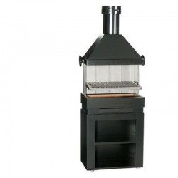 Barbecue Escalor Patio on Rolling Furniture in Refractory Bricks and Steel with Hood