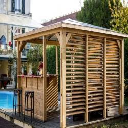Quiosque de jardim de madeira blueterm 12.32 m2 com 2 Paredes Habrita