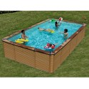 Pool Wood Zodiac Azteck rectangular Offse ground 690 x 365