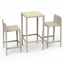 Set Spritz table and 2 stools Vondom seat height 66cm unbleached