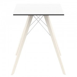 Dining table Vondom Faz Wood white square top and bleached oak feet