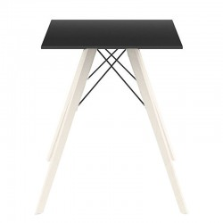 Dining table Vondom Faz Wood black square top and bleached oak feet