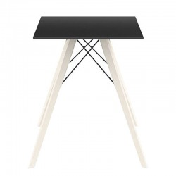 Dining table Vondom Faz Wood black square top and natural oak feet