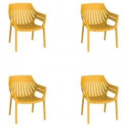 Lot de 4 fauteuils Vondom Spritz jaune moutarde
