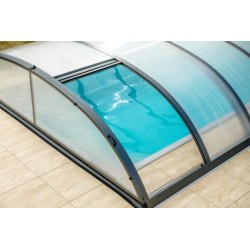 Pool shelter in Anthracite Aluminum and Polycarbonate 390 x 642 x 75