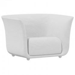 Fauteuil Vondom design Suave en tissu déperlant blanc Snow 1041